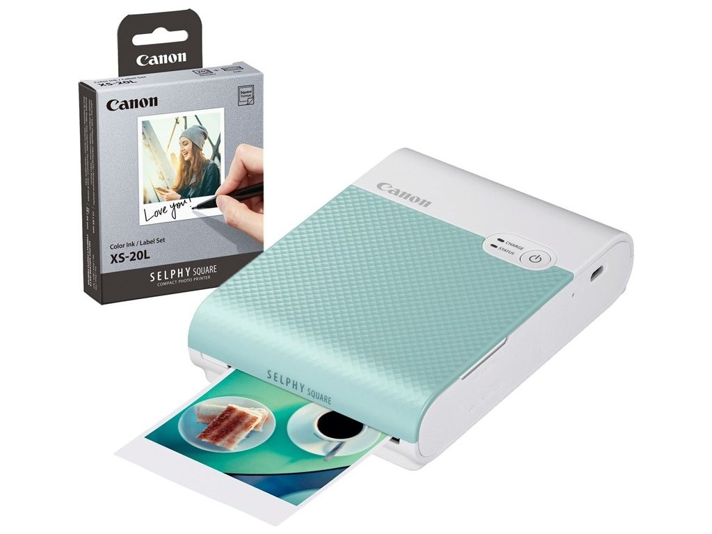 Fototiskárna Canon Selphy Square QX10 + papíry 20ks, zelená