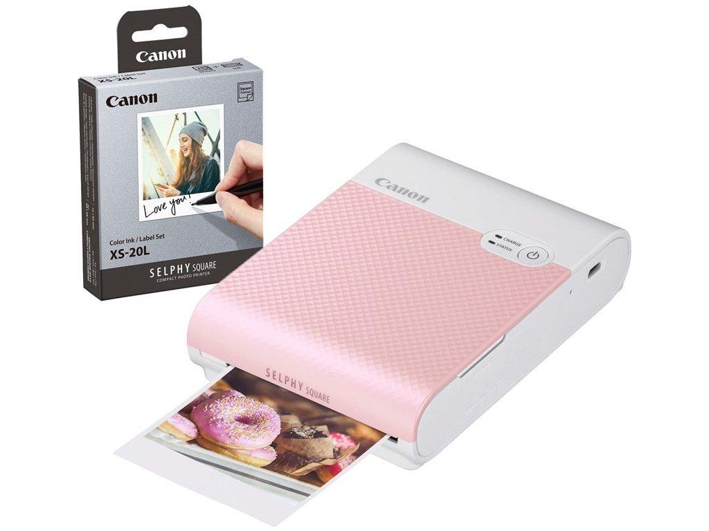 Fototiskárna Canon Selphy Square QX10 + papíry 20ks, růžová