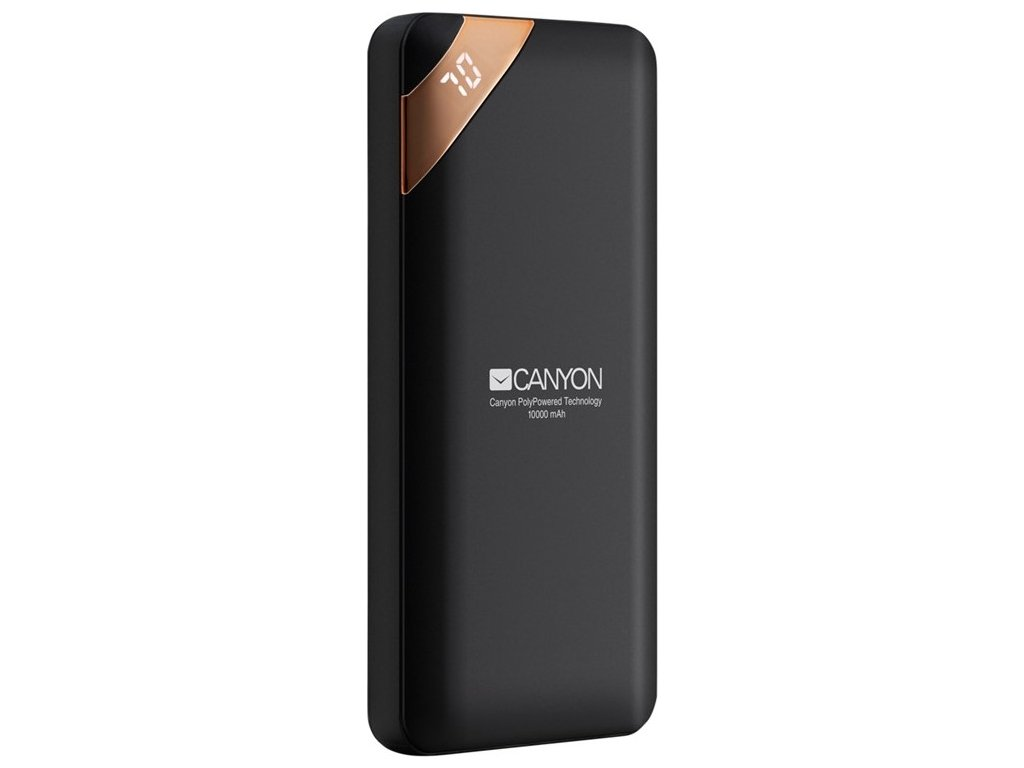 Powerbank Canyon 10000 mAh, USB-C, s digitálnim displejem - černá