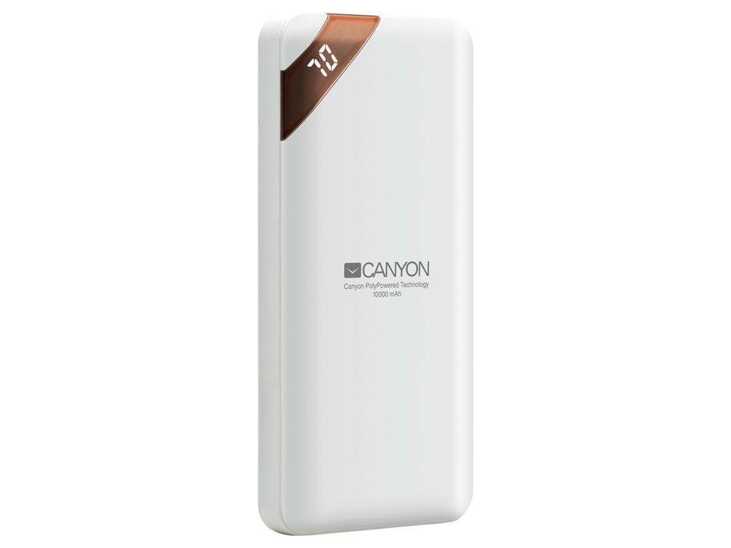 Powerbank Canyon 10000 mAh, USB-C, s digitálnim displejem - bílá