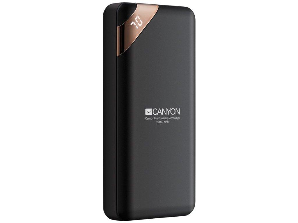 Powerbank Canyon 20000 mAh, USB-C, s digitálnim displejem - černá