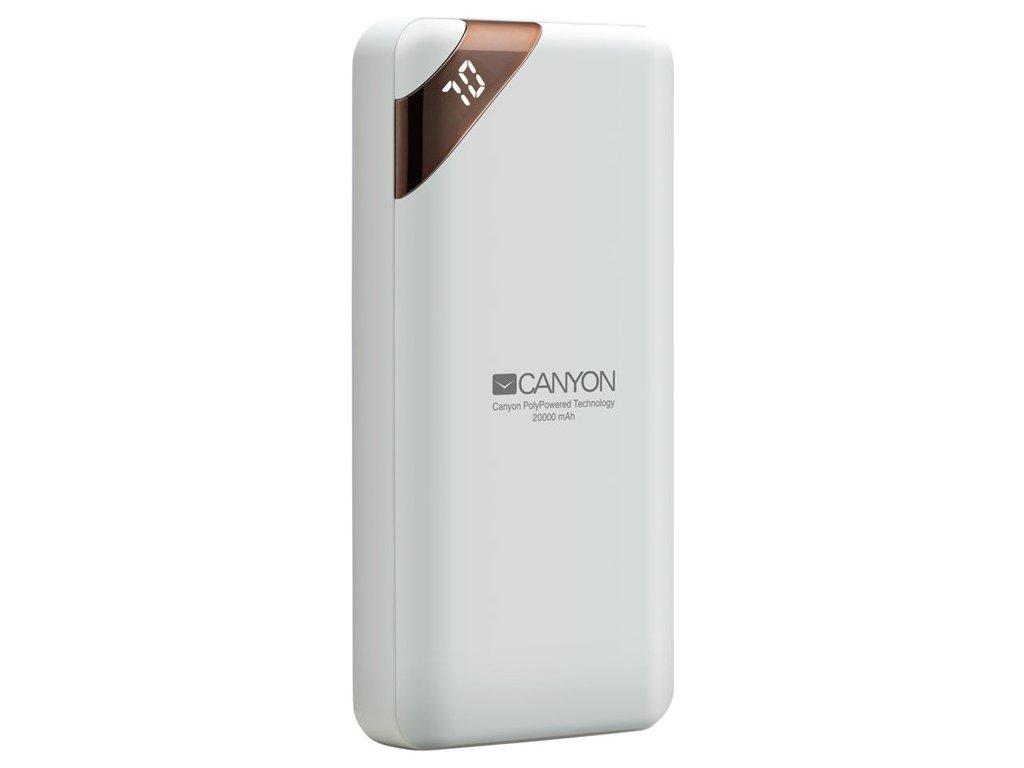 Powerbank Canyon 20000 mAh, USB-C, s digitálnim displejem - bílá