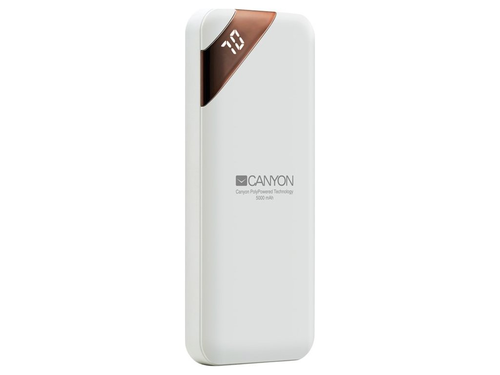 Powerbank Canyon 5000 mAh, USB-C, s digitálnim displejem - bílá