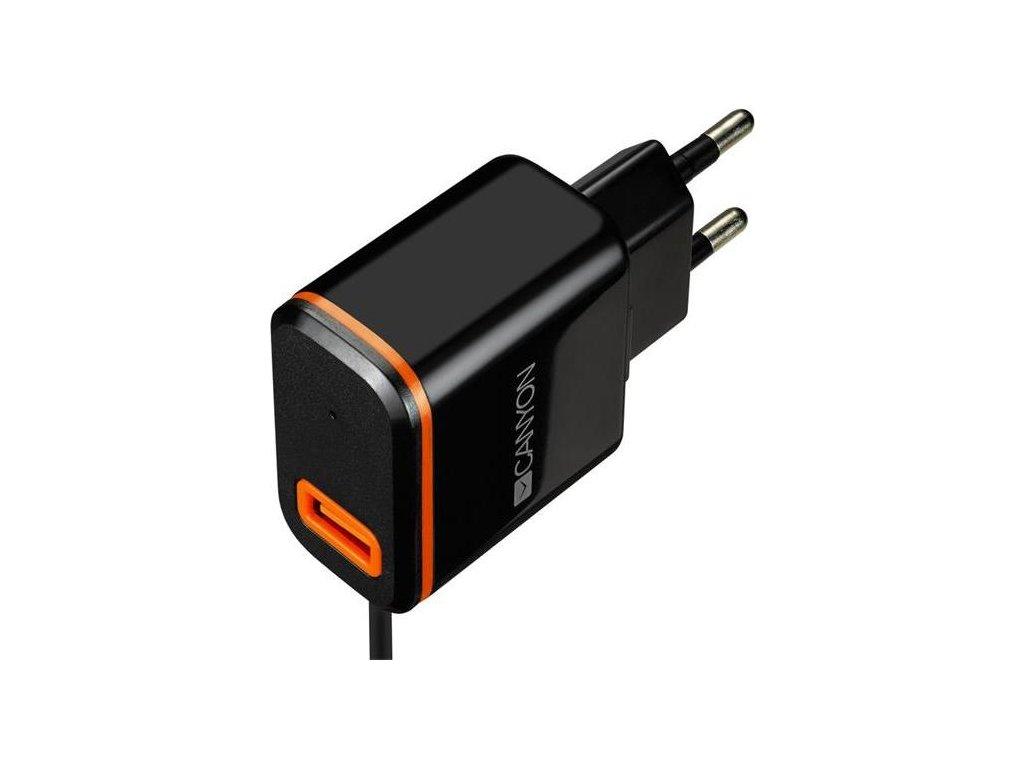 Nabíječka do sítě Canyon 1xUSB, USB-C kabel 1m - černá
