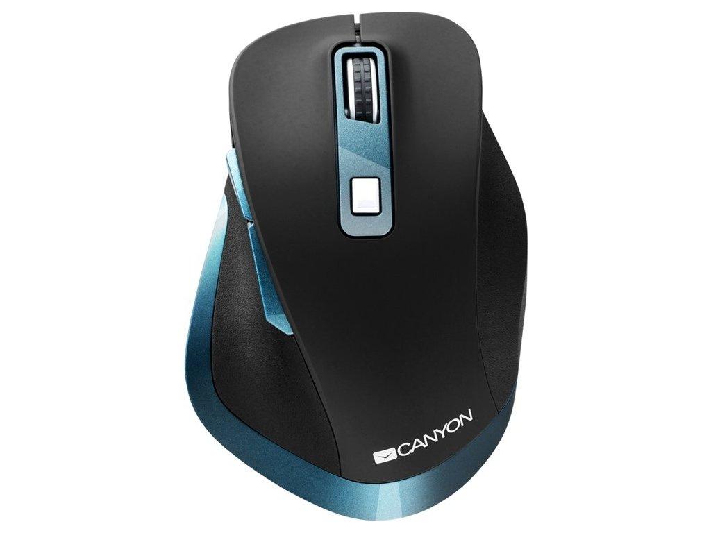 Myš Canyon CNS-CMSW14DG / optická / 6 tlačítek / 2400dpi - černá/modrá
