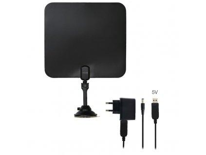 Anténa pokojová Evolveo Xany 2C LTE 230/5V, 41dBi aktivní pokojová DVB-T/T2, LTE filtr