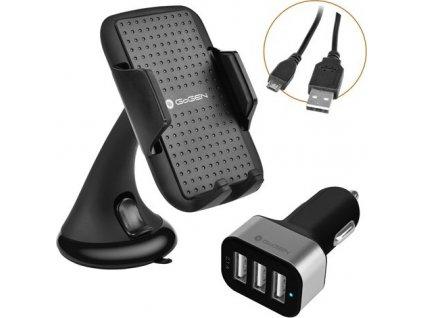 Auto SET GoGEN 3 v 1, držák na mobil, autonabíječka, mikro USB kabel, kroucený, 1,2m, černá barva