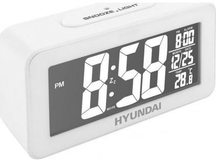 Budík Hyundai AC 321 W, s vnitřní teplotou, inverzní displej, bílý