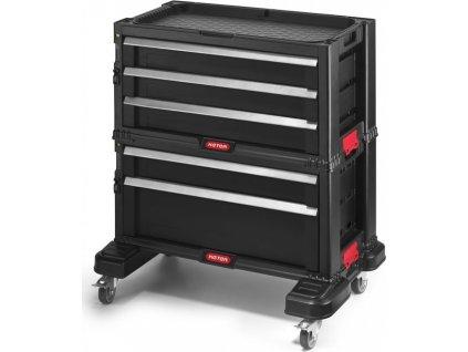 Kufr na nářadí Keter s 5 šuplíky na kolečkách, černý