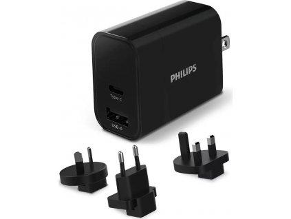 Cestovní adaptér Philips 1x USB A, 1x USB-C