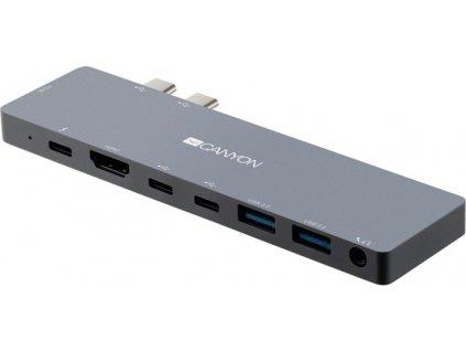 Dokovací stanice Canyon 2x USB-C/2x USB, 2x HDMI 4K, USB-C PD 87W, 2x USB-C, 3,5mm
