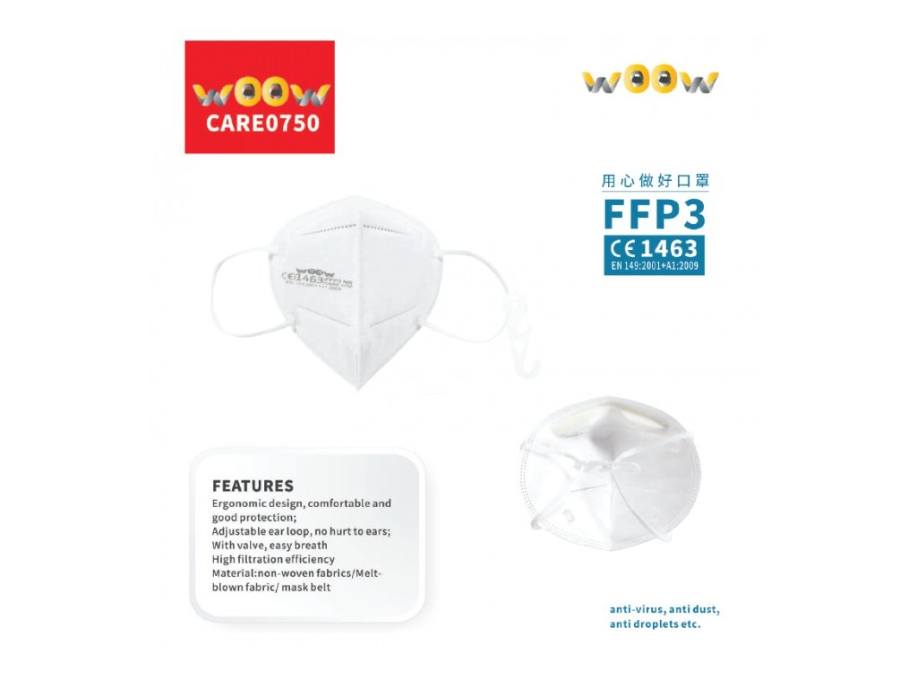 woow respirator ffp3 protective mask 5ks original