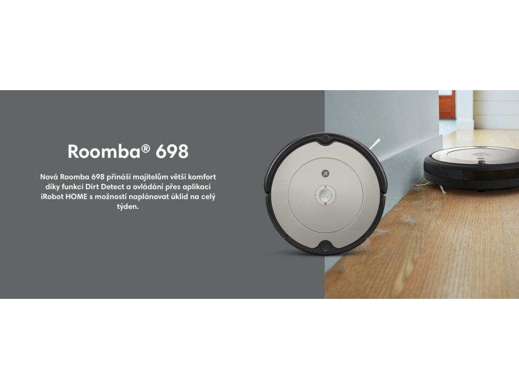 iRobot Roomba 698 WIFI CZ  + Záruka 30 měsíců + DOPRAVA ZDARMA + 30x respirátor FFP2