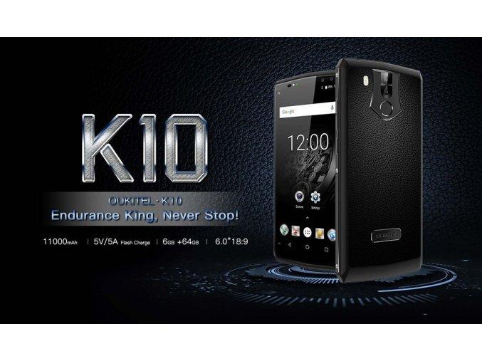 OUKITEL K10 6GB/64GB 21Mpix 11000mAh FHD+ CZ LTE  + Záruka 27 měsíců + 2x lcd folie + redukce + čistící hadřík + OTG + luxusní silikonové pouzdro v hodnotě 590Kč ZDARMA