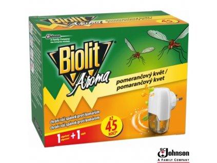BIOLIT® Elektrický odpařovač proti komárům vůně pomeranče s náplní 27 ml na 45 nocí