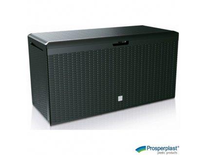 PROSPERPLAST® RATO PLUS Úložný box plastový s kolečky, antracitový, 114 x 47 x 59 cm, 290 l