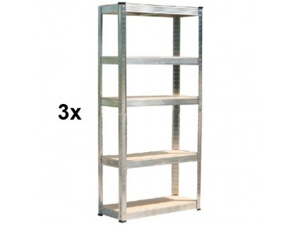 Regál policový RACKS, bezšroubový, ocel/MDF, 5 polic, 90 x 40 x 180 cm, nosnost 175/875 kg, sada 3 ks