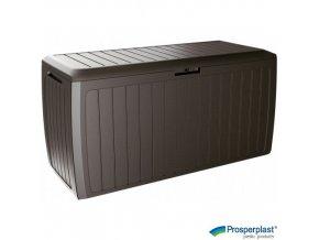 PROSPERPLAST® BOXE BOARD Úložný box plastový s kolečky, tmavě hnědý, 117 x 47 x 60 cm, 290 l