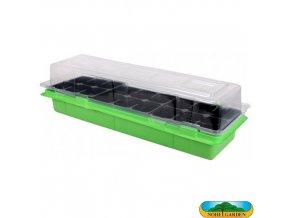 NOHEL GARDEN® 48843 Minipařeniště MEDIUM, 18 otvorů, 47 x 16 x 12 cm, zelené