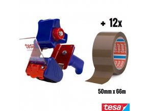 tesa® ECONOMY PACKING KIT sada odvíječ 6300 + 12x balící páska 4280 chamois 50 mm x 66 m