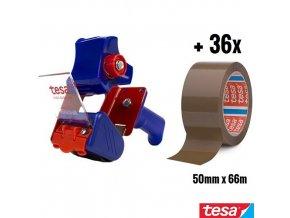 tesa® ECONOMY PACKING KIT sada odvíječ 6300 + 36x balící páska 4280 chamois 50 mm x 66 m