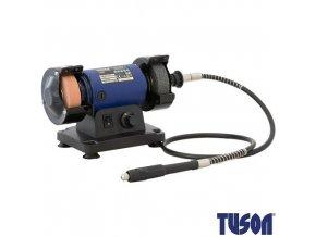 TUSON® 130022 Dvoukotoučová mini bruska s přídavnou přímou bruskou, 120 W, 75 mm, sada s příslušenstvím v kufříku