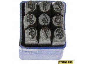 STREND PRO® Raznice ocelové, 5 mm, znaky číslice 0-8, 9 ks