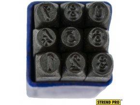 STREND PRO® Raznice ocelové, 4 mm, znaky číslice 0-8, 9 ks