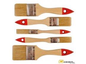 GEBOL® Sada univerzálních štětců, dřevěné lakované držadlo, 15, 20, 30, 40, 50 mm