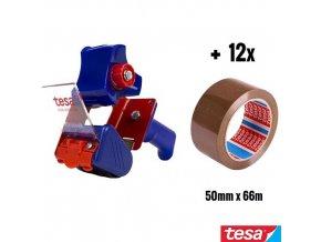 tesa® PREMIUM PACKING KIT sada odvíječ 6300 + 12x balící páska 4263 chamois 50 mm x 66 m