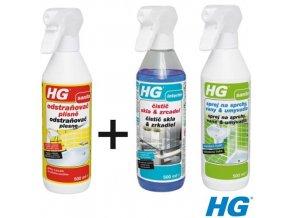 HG odstraňovač plísně, čistič skel, sprej na sprchy