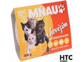 MŇAU Vanička pro kočky s hovězím masem 90% a lososovým olejem, 100 g