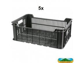 NOHEL GARDEN® Přepravka manipulační, nosnost 15 kg, černá, 5 ks