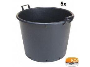ICS® Kontejner na stromky s otvory, černý, 110 l, pr. 65 x 50 cm, sada 5 ks