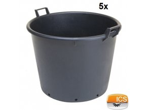 ICS® Kontejner na stromky s otvory, černý, 130 l, pr. 70 x 51 cm, sada 5 ks