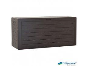PROSPERPLAST® WOODEBOX Úložný box plastový, umbra, 116 x 44 x 55 cm, 280 l