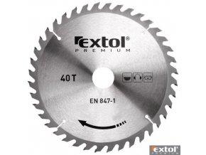 EXTOL® PREMIUM Pilový kotouč na dřevo TCT, 125 x 22,2 x 2,6/1,3 mm, 40 zubů