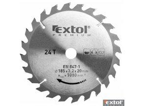 EXTOL® PREMIUM Pilový kotouč na dřevo TCT, 185 x 20 x 3,0/2,2 mm, 24 zubů