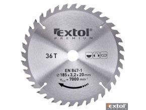 EXTOL® PREMIUM Pilový kotouč na dřevo TCT, 185 x 20 x 3,2/2,2 mm, 36 zubů