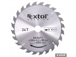 EXTOL® PREMIUM Pilový kotouč na dřevo TCT, 250 x 30 x 3,2/2,2 mm, 24 zubů