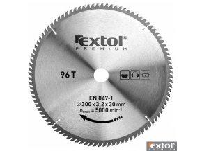 EXTOL® PREMIUM Pilový kotouč na dřevo TCT, 300 x 30 x 3,2/2,2 mm, 96 zubů
