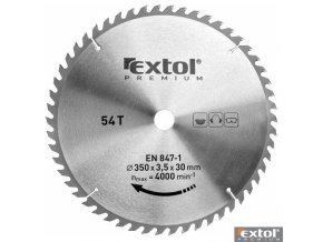 EXTOL® PREMIUM Pilový kotouč na dřevo TCT, 350 x 30 x 3,5/2,5 mm, 54 zubů