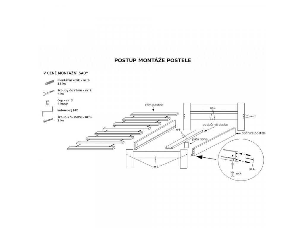 Laura ágy 180x200 cm, diófa