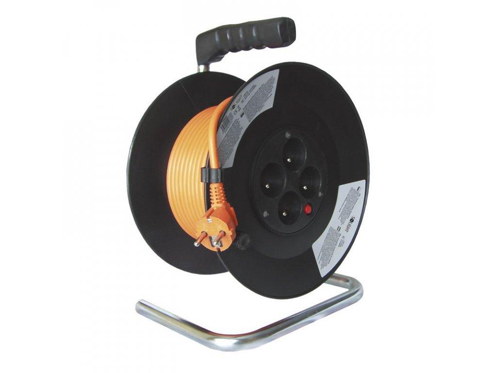 Solight prodlužovací přívod na bubnu, 4 zásuvky, 20m, oranžový kabel, 3x 1,5mm2