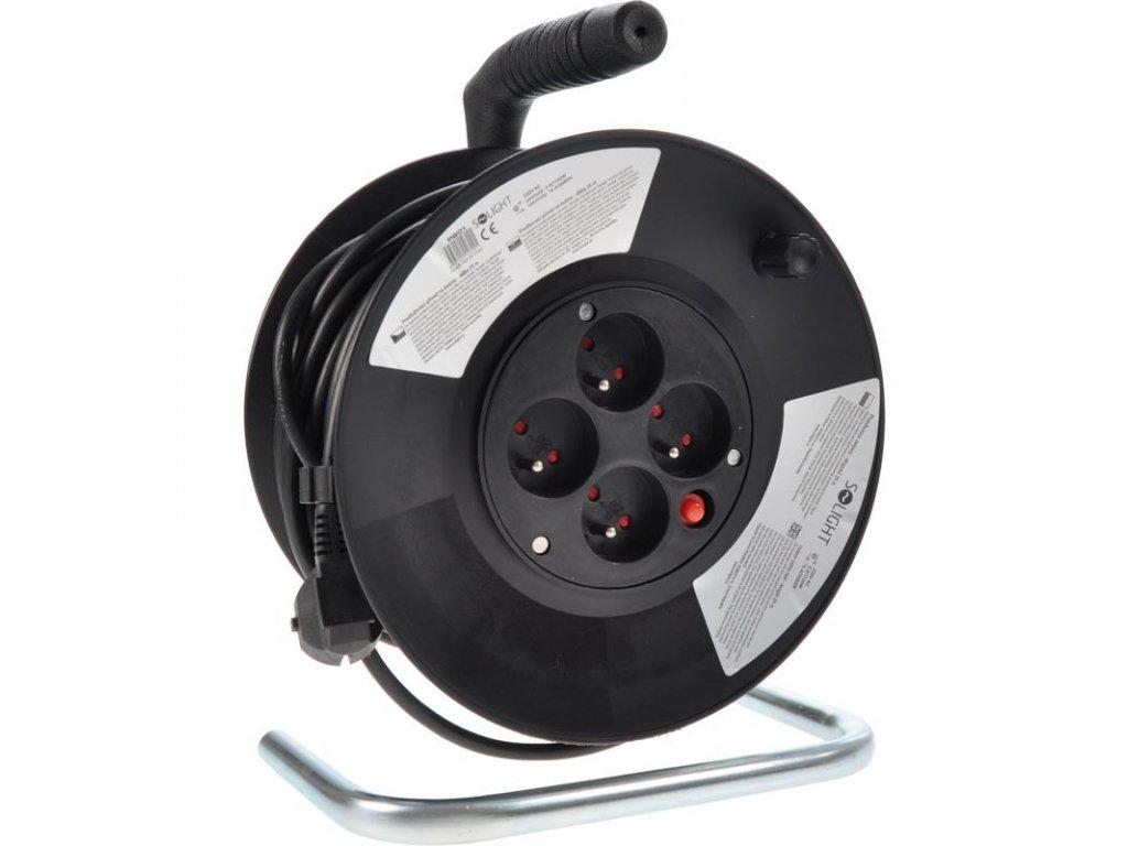 Solight prodlužovací přívod na bubnu, 4 zásuvky, 25m, černý kabel, 3x 1,5mm2
