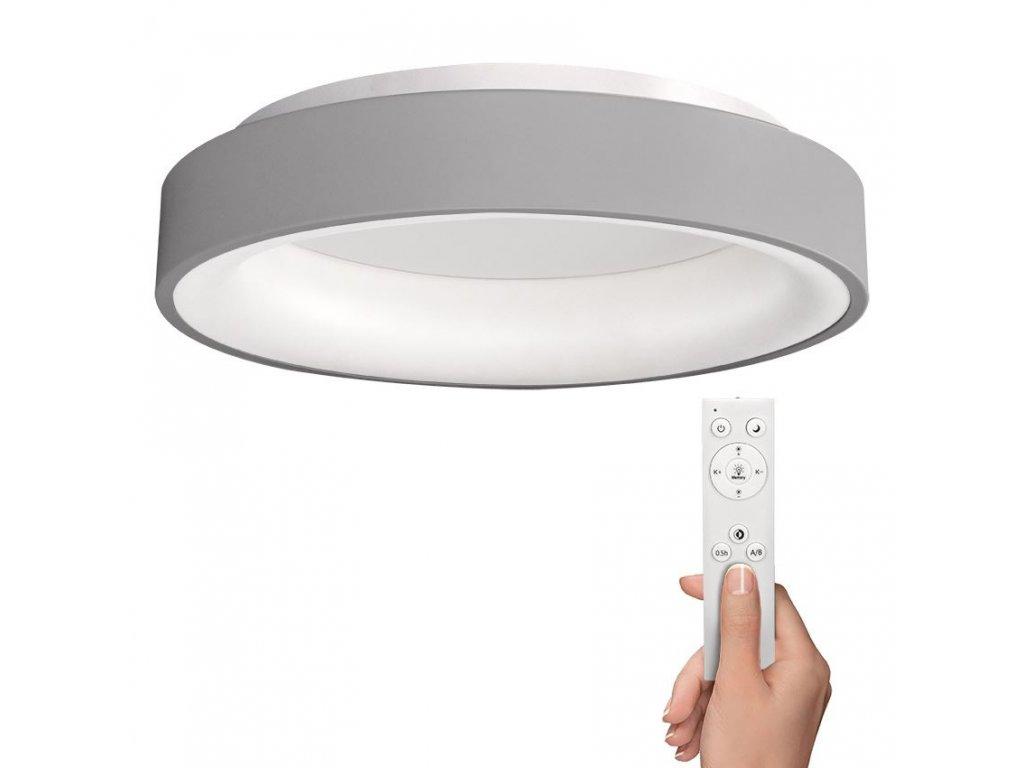 Solight LED stropní světlo kulaté Treviso, 48W, 2880lm, stmívatelné, dálkové ovládání, šedá