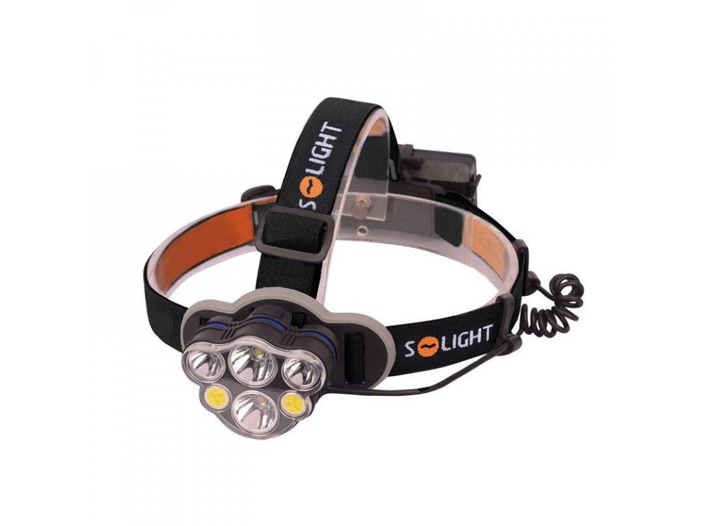 Solight LED čelová nabíjecí svítilna, 550lm, Li-Ion, USB