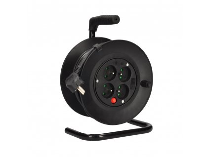 Solight prodlužovací přívod na bubnu, 4 zásuvky, 15m, černý kabel, 3x 1,0mm2
