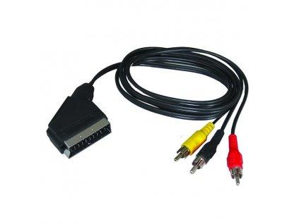 Solight SCART kabel, SCART konektor - 3x CINCH konektor, přepínatelný, 1m, sáček