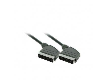 Solight SCART kabel, SCART konektor - SCART konektor, 21pin, 1,5m, průměr 8mm, sáček